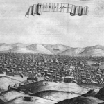 Skyline of Tabriz sketched in 1673, Jean Chardin.