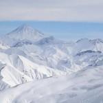 Mount Damavand (5,670 m) seen from the Dizin Ski Resort