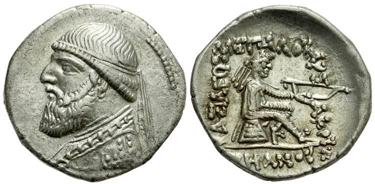 سکه نقره ای شاه اشکانی مهرداد دوم