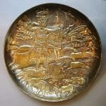 Persian metal Engraving (golden plate),depicting King Anushirvan
