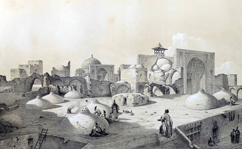Royal_Mosque_and_terraces_of_houses,_Qazvin_by_Eugène_Flandin