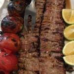 Kebab barg: Barbecued and marinated lamb, chicken or beef.