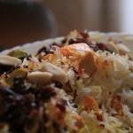 "Morasa polow: Rice ""jewelled"" with barberries, raisins, carrots, orange peel, and almonds."