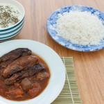 Khoresh e bademjan: Eggplant stew with tomato and saffron.
