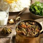 Khoresh e alu-esfenaj: Stewed prunes, spinach, and meat.
